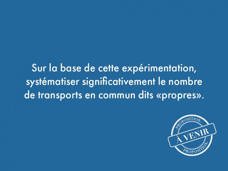 """48. Sur la base de cette expérimentation, systématiser significativement le nombre de transports en commun dits """"propres""""."""