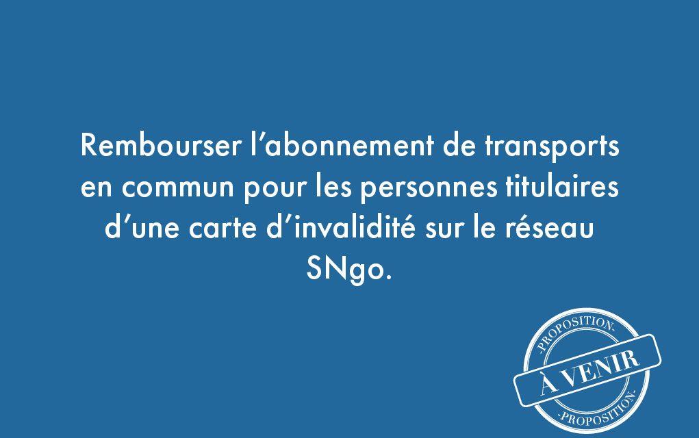 96. Rembourser l'abonnement de transports en commun pour les personnes titulaires d'une carte d'invalidité sur le réseau SNgo.