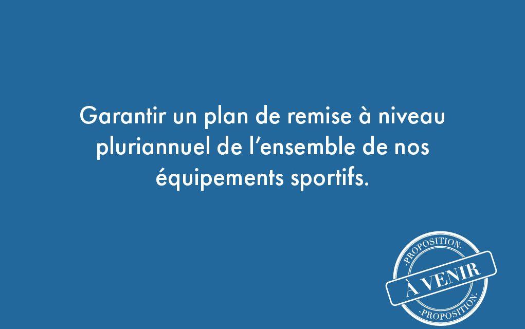 98. Garantir un plan de remise à niveau pluriannuel de l'ensemble de nos équipements sportifs.