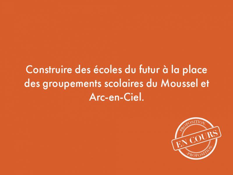 75. Construire des écoles du futur à la place des groupements scolaires du Moussel et Arc-en-Ciel.
